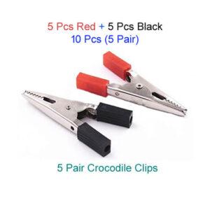 10 Pcs Crocodile Clip (Red+Black) Combo Pack